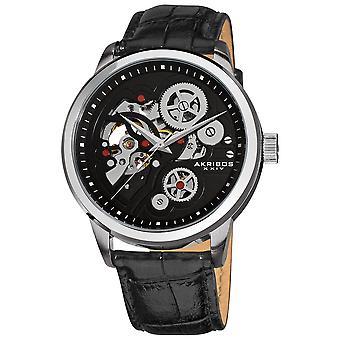 Akirbos XXIV AK538BK Men's Mechanical Skeleton Leather Black Strap Watch with Tang Buckle Clasp