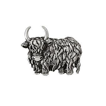 Ewige Sammlung Highland Cow Silberfarbe Brosche