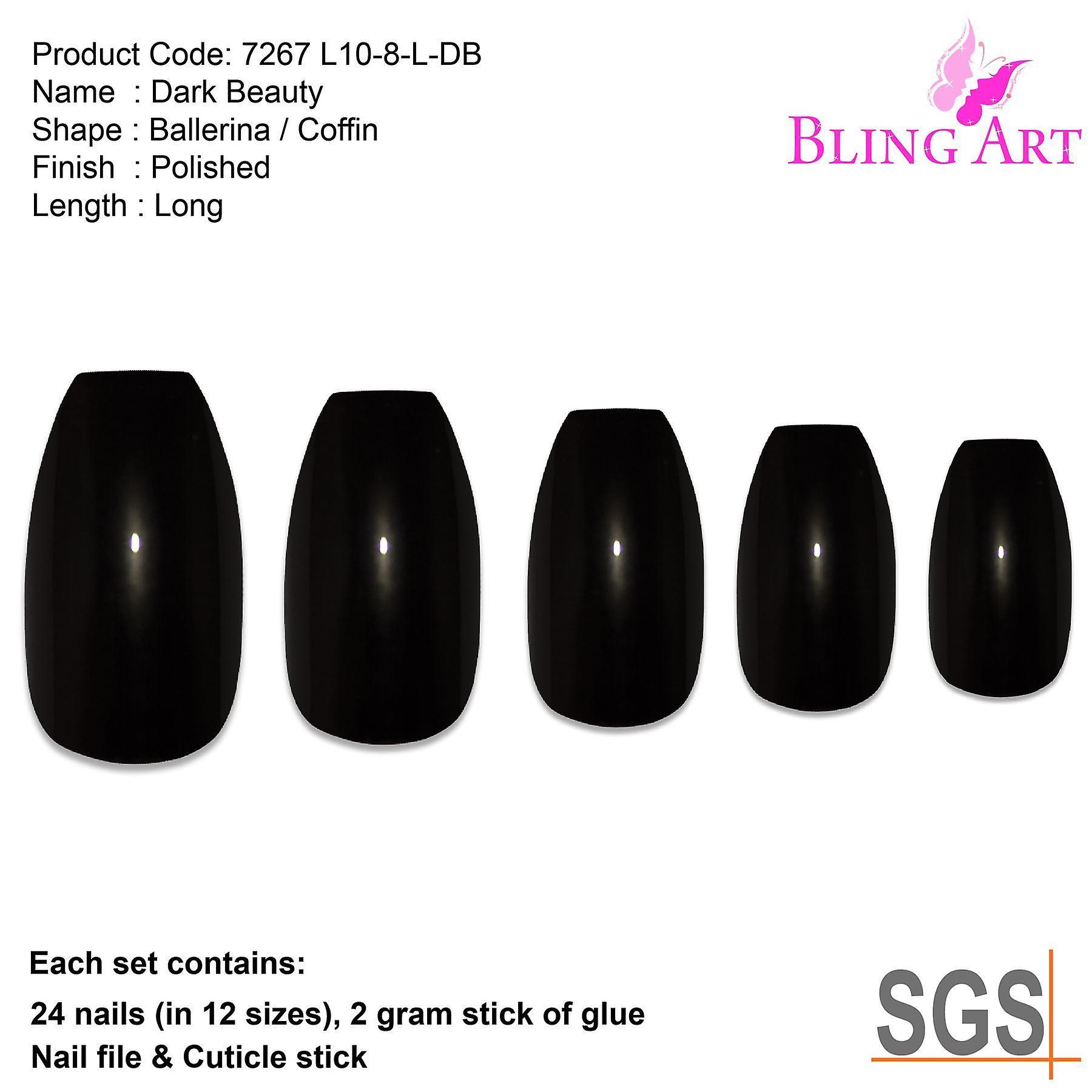 False nails bling art black polished ballerina coffin long acrylic fake tips