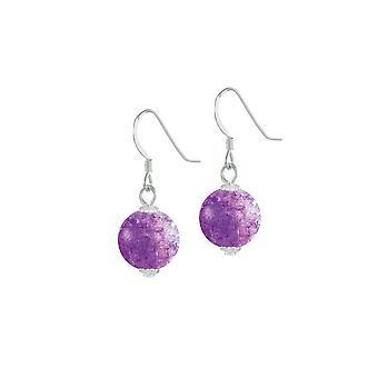 Ewige Sammlung Karneval lila Tschechische Glas Crackle Perle Silber Ton Tropfen durchbohrt Ohrringe