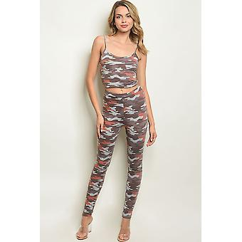 Womens brown camouflage top & pants set
