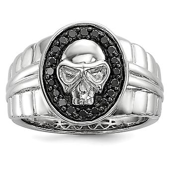 925 Sterling Silver Polished Prong set Gift Boxed Rhodium-plated Black Diamond Oval Skull Mens Ring - Ring Size: 9 to 11