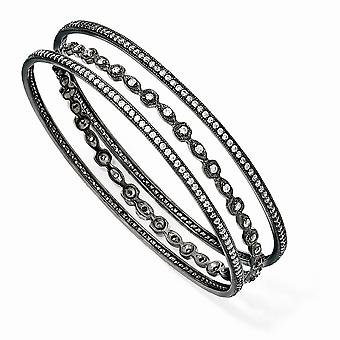 Black-plated 925 Sterling Silver Black rhodium Cubic Zirconia Three Bangle Bracelet Set