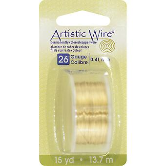 Colored Wire 26 Gauge 15 Yards Pkg Natural Non Tarnish Brass 26Awg Ntb