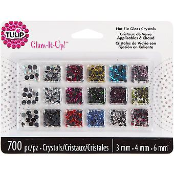 Tulip Glam It Up! Hotfix Glass Crystals 700 Pkg Assorted Colors I31760