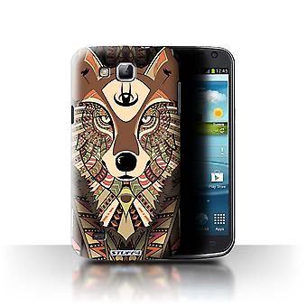 STUFF4 Case/Cover for Samsung Galaxy Premier/I9260/Wolf-Sepia/Aztec Animal
