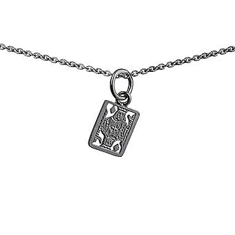Silver 11x9mm King Playing Card Pendant with a rolo Chain 14 inches Only Suitable for Children
