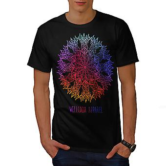 Pattern Colorful Stylish Men Black T-shirt | Wellcoda