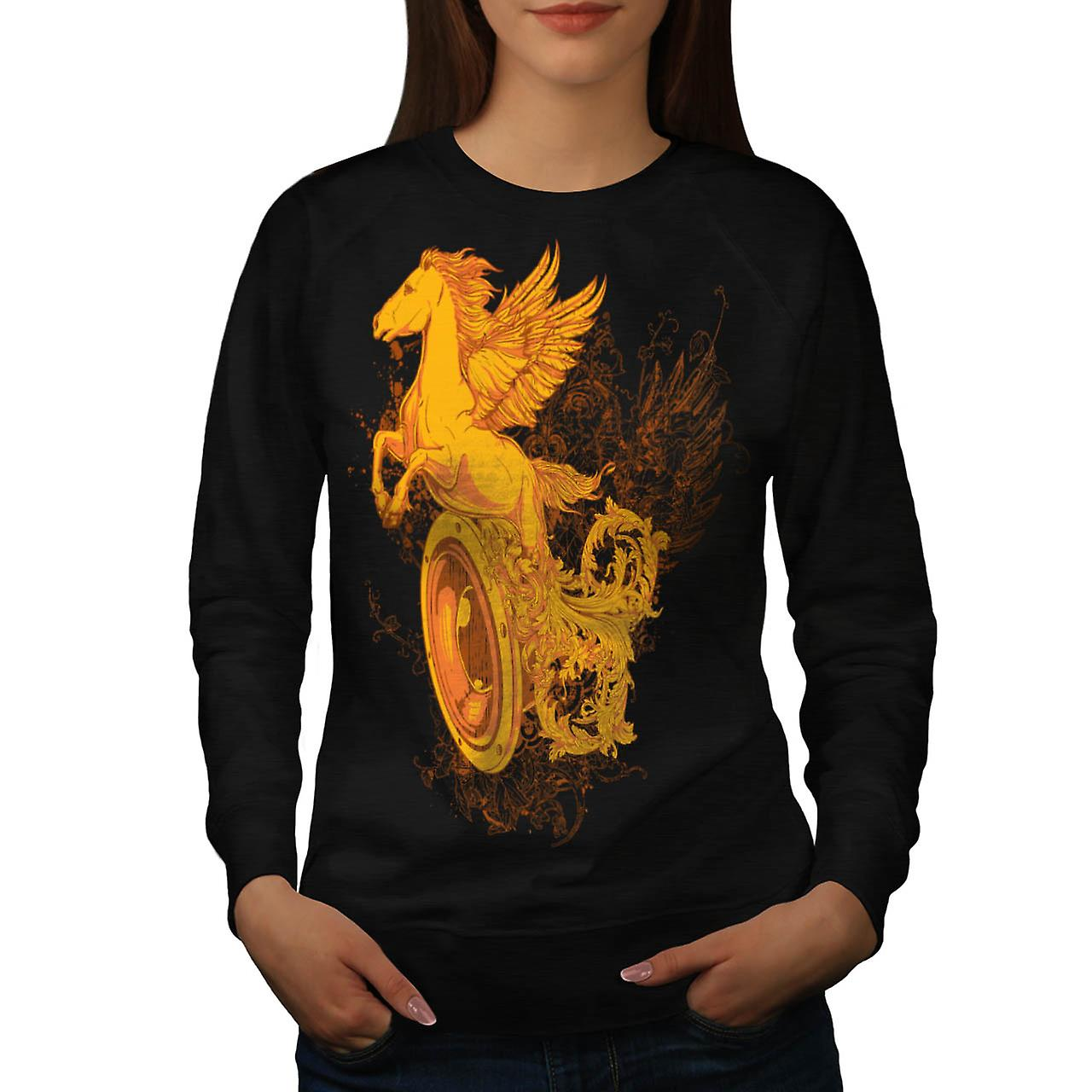 Pegasus Freedom Art Music Women Black Sweatshirt | Wellcoda