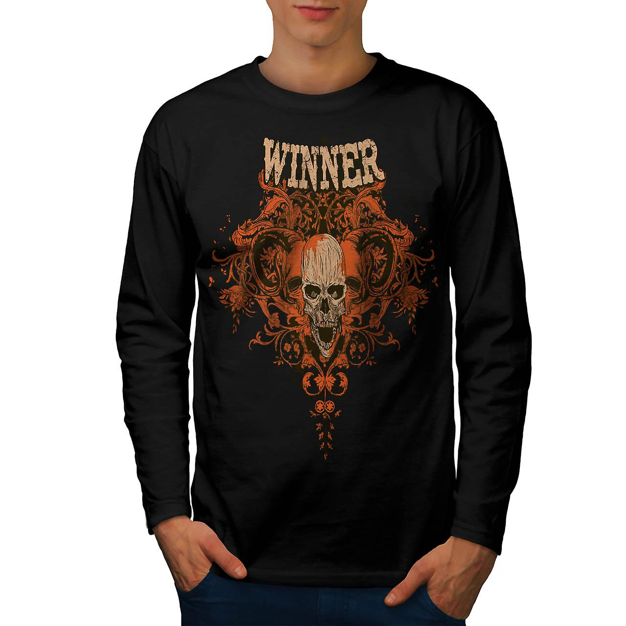 Winner Animal Skull Monster Head Men Black Long Sleeve T-shirt | Wellcoda