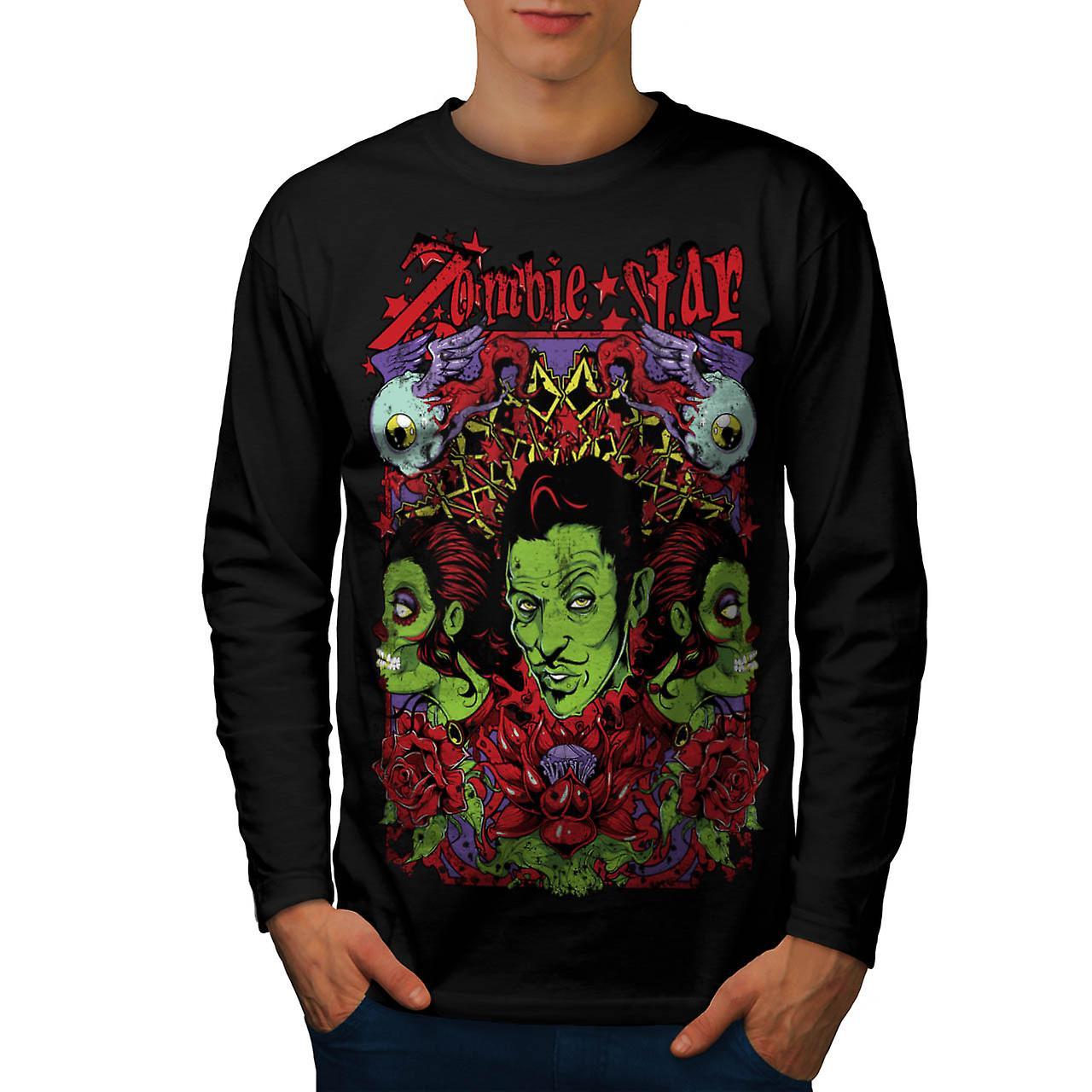 Zombie Star Group Wax Eye Angel Men Black Long Sleeve T-shirt | Wellcoda