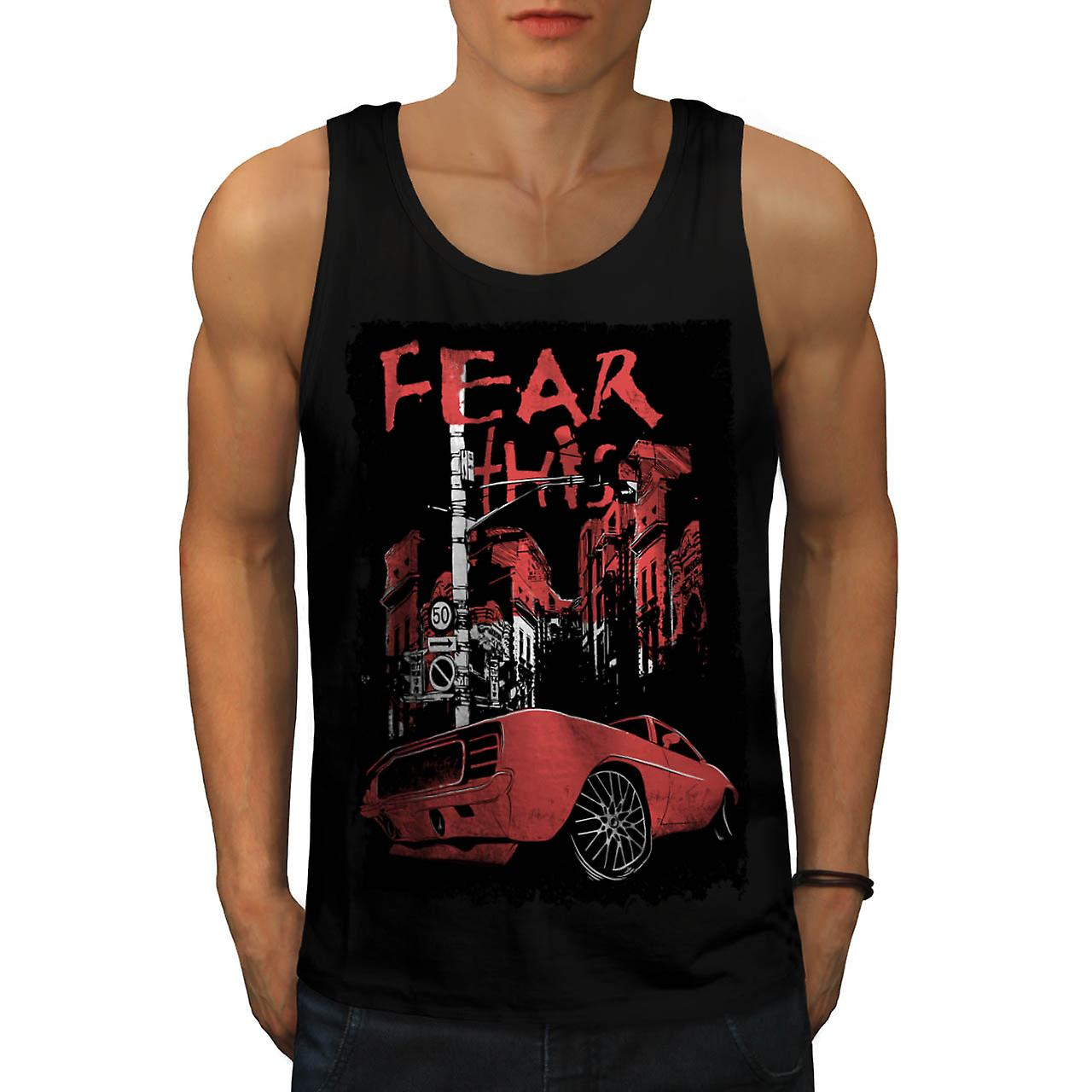 Fear This Muscle Car Street Light Men Black Tank Top | Wellcoda