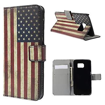 Cover flag USES in PU skin for Samsung Galaxy S6 Edge