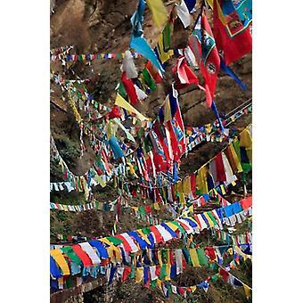 Prayer Flags Thimphu Bhutan Poster Print by Kymri Wilt