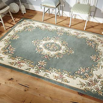 Royal Aubusson Wool Rugs In Green Ivory