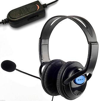 Kabalo Deluxe polstret Headset hovedtelefoner med mikrofon Boom, kablet lydstyrkeregulering, 3,5 mm stik til PlayStation 4, PS4 Controller & PC