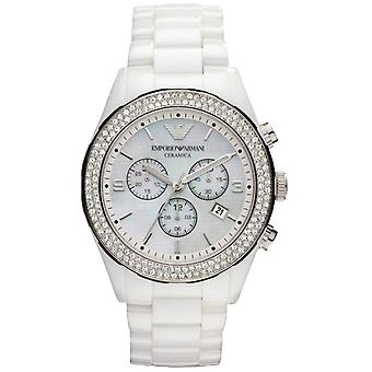 Emporio Armani AR1456 White Ceramica Diamond Bezel Ladies Watch