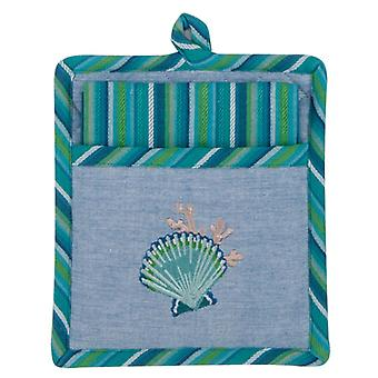 Scallop Shell Embroidered 2 Piece Pocket Mitt with Tea Towel Kitchen Gift Set