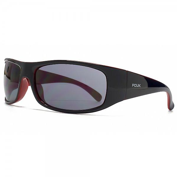 FCUK Sports Wrap Sunglasses In Black On Red