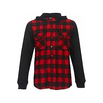 Urban Classics Hooded Checked Flannel Sweatshirt