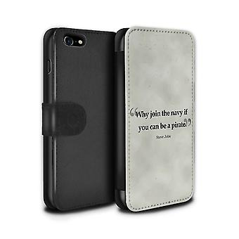 STUFF4 PU lederen portemonnee Flip Case/Cover voor de Apple iPhone 7 / Steve Jobs Design / beroemde Quotes verzameling