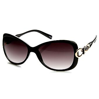 Womens Fashion Bow-Tie Metal Cut-Out Temple Oval Sunglasses