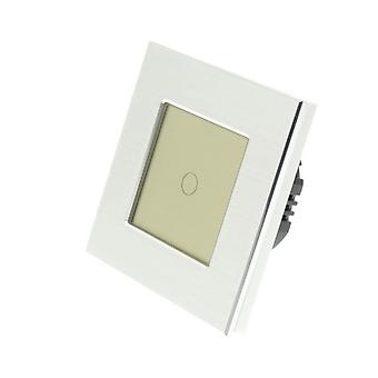 I LumoS Silver Brushed Aluminium 1 Gang 1 Way Remote & Dimmer Touch LED Light Switch Gold Insert
