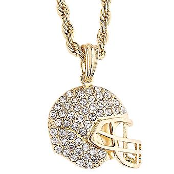 Iced out bling rope cord chain - FOOTBALL helmet gold