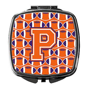 Letter P Football Orange, White and Regalia Compact Mirror