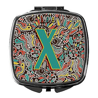 Letter X Retro Tribal Alphabet Initial Compact Mirror
