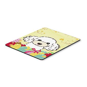 White Poodle Easter Egg Hunt Mouse Pad, Hot Pad or Trivet