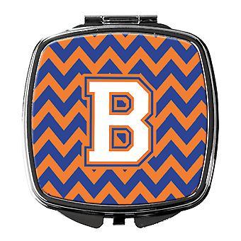 Buchstabe B Chevron blau und Orange #3 Kompakt-Spiegel