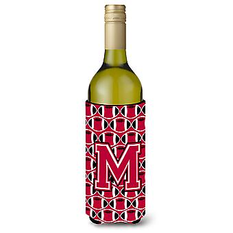 Buchstabe M Football Karmesinrot und weiß Wein Flasche Getränk Isolator Hugger