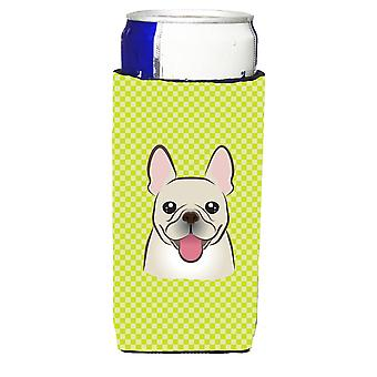 Checkerboard Lime Green French Bulldog Ultra Beverage Insulators for slim cans