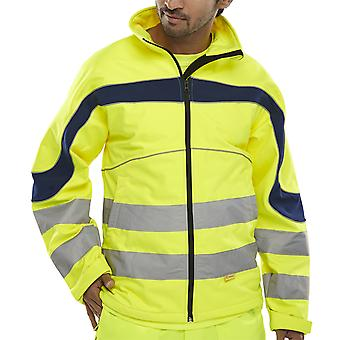 B-Seen Eton Soft Shell Hi Vis Jacket Windproof & Water Resistant. Yellow - Et40