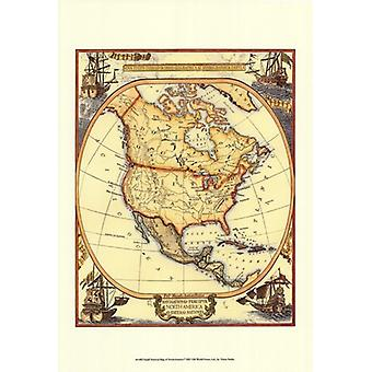 Small Nautical Map Of North America Poster Print (13 x 19)