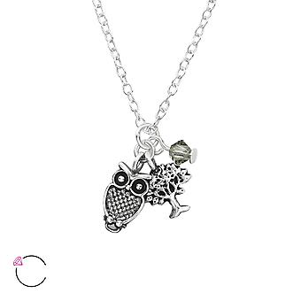 Owl And Tree Of Life Crystal From Swarovski® - 925 Sterling Silver Necklaces - W32731x
