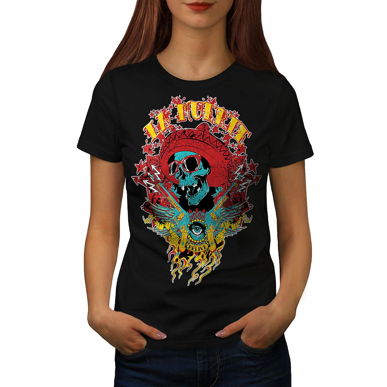 La Muerte Party Skull Women Black T-shirt | Wellcoda