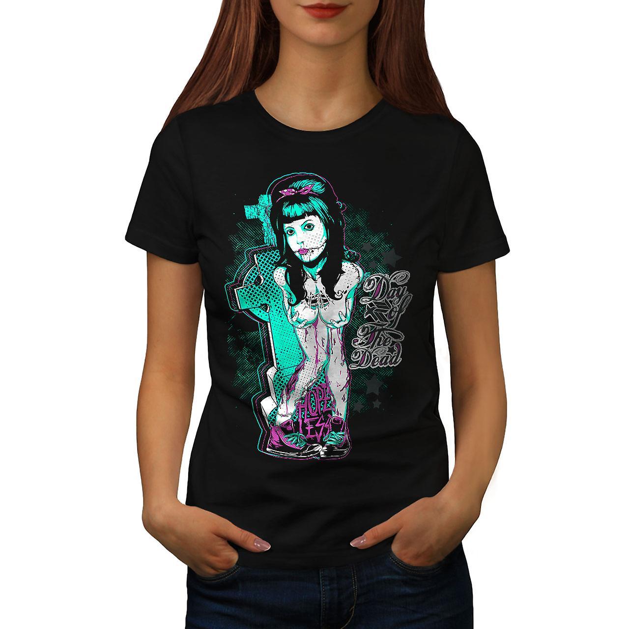 Day Of Dead Emo Zombie Women Black T-shirt | Wellcoda