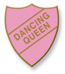 Dancing Queen Enamel Shield Badge, Old School Vintage Style!