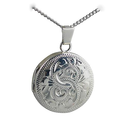 Silver 20mm engraved flat round Locket with a curb Chain 18 inches