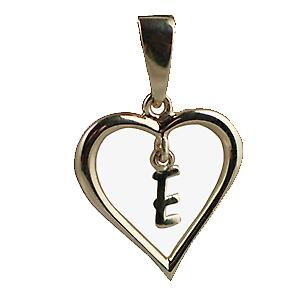 9ct Gold 18x18mm heart Pendant with a hanging Initial E