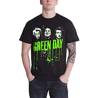 Green Day T Shirt Drips Uno Dos Tres Album Band Logo Official Mens New Black