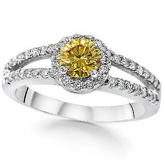 3/4CT Color Enhanced Yellow Diamond Halo Split Shank Engagement Ring White Gold
