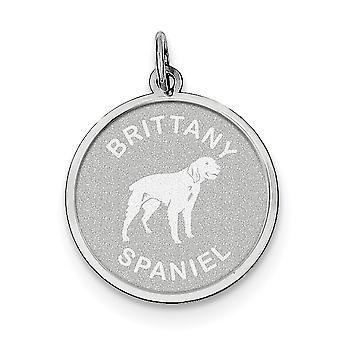 Sterling zilveren solide Faceted Engravable Laser geëtst Brittany Spaniel Disc charme - 1.5 gram
