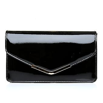 LUCKY Black Patent Medium Size Clutch Bag
