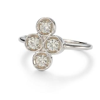 Forever Classic 3.25mm Round Moissanite Vertical Clover Ring, 0.52cttw DEW