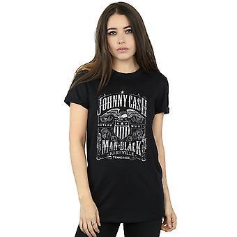 Johnny Cash Women's Nashville Label Boyfriend Fit T-Shirt