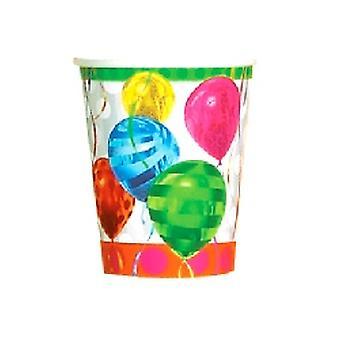 Tazas de papel globo Brights - 8 por paquete