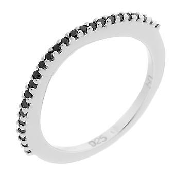Orphelia argent 925 anneau Twin noire Zirconium ZR-3763-1